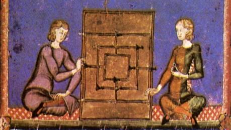 Två personer spelar spel, medeltida illustration.