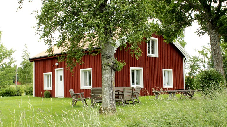 Rödmålad byggnad