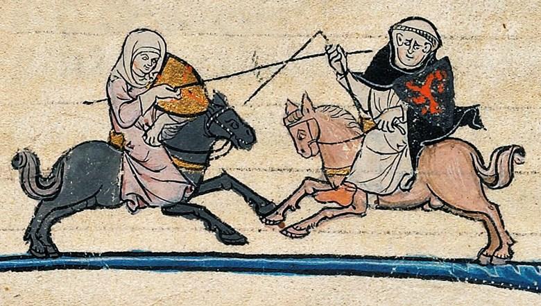 Kvinna rider dust mot munk.