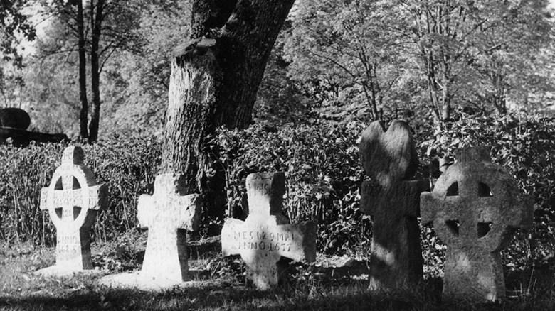 Gamla gravar på Järns kyrkogård. Foto Claes Claesson, från samlingarna på Vänersborgs museum.