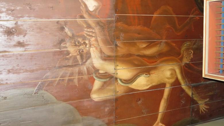 Rävinge kyrka. Målat 1774 av Johan Blomberg.